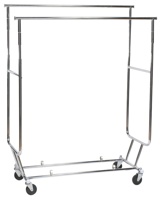 Collapsible Clothes Rack, Dual Hang Rails.
