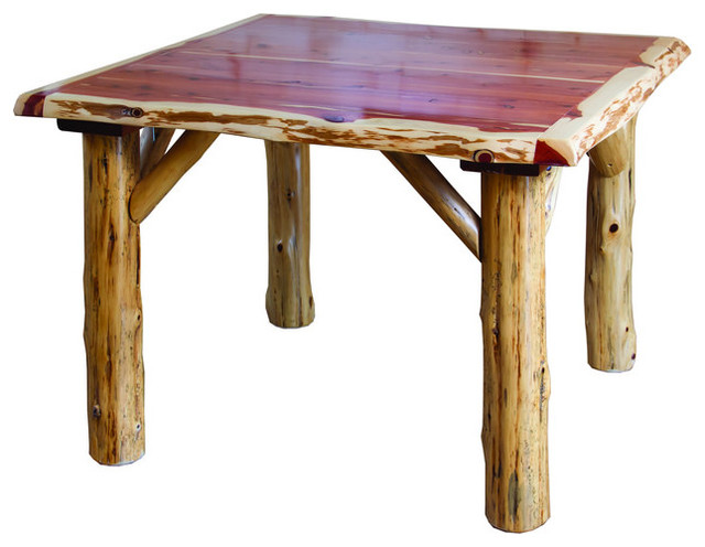 Rustic Red Cedar Log Traditional Square Dining Set Table