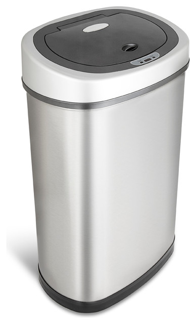 Nine Stars Trash Can With Motion Sensor Lid, Stainless Steel, 13.2-Gallon
