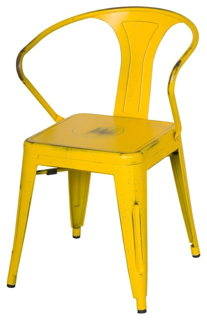 metropolis metal arm chair, disstressed yellow - contemporary