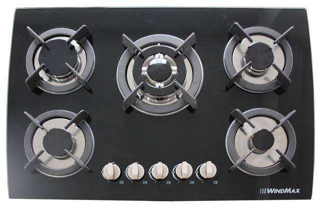 30 Black Tempered Gl Built In Kitchen Cook Top 5 Burner Oven Gas Cooktops