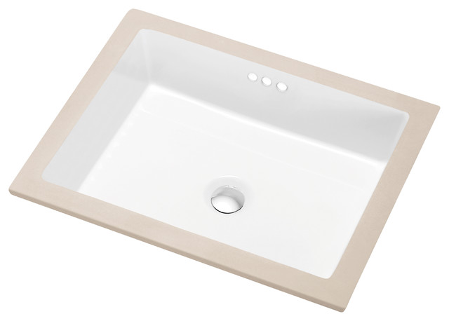Dawn Under Counter Rectangle Ceramic Basin With 3 Overflow.