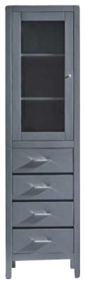 """Wellmont 20"""" Side Cabinet, Gray, Polymarble Countertop."""