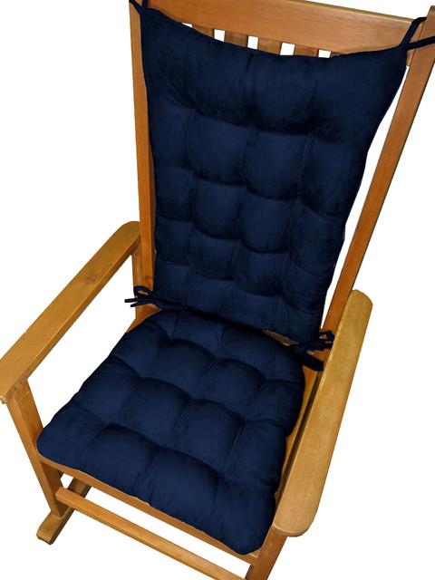 Shop Houzz Barnett Home Decor Micro Suede Royal Blue Rocking Chair Cushions