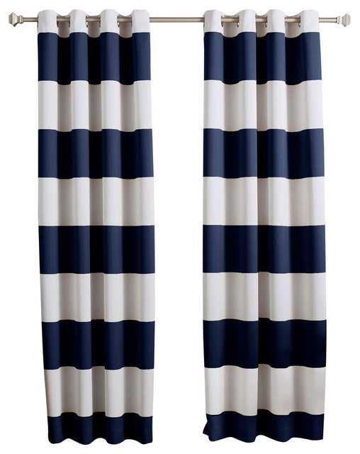 "Bold Stripe Print Grommet Top Curtain Pair 84"" L, Navy."