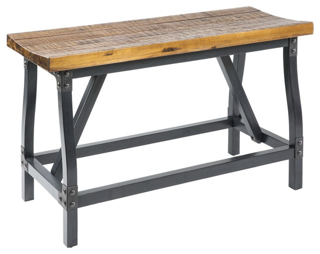 Awesome Industrial Rustic Wood And Metal Counter Height Gathering Dining Bench  Industrial Dining Benches