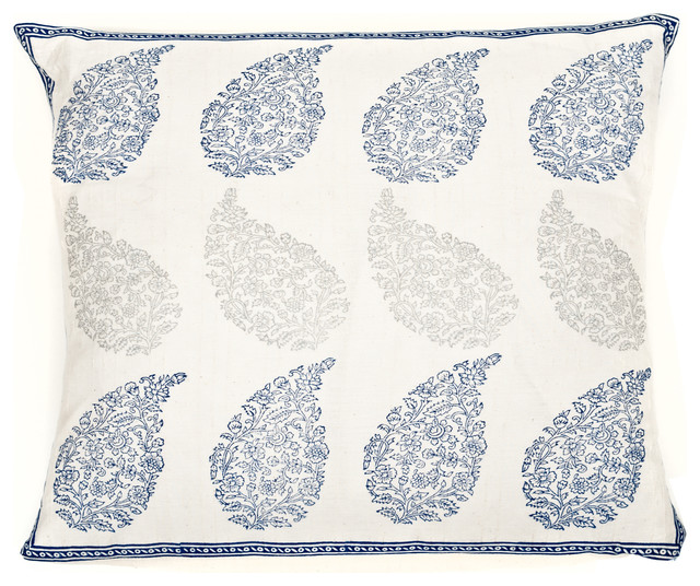Raindrop Loom Pillow, Blue And Gray.