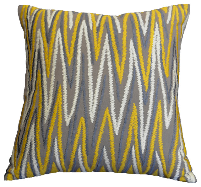 "Am Home Gray/gold Chevron Emb. Pillow, 20""x20""."
