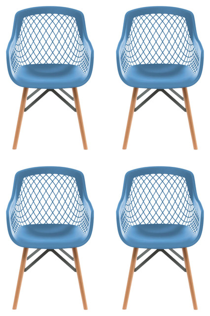 Pure Style Dining Chairs, Blue, Set of 4