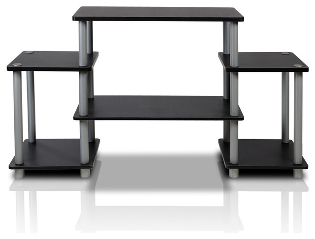 Furinno Turn-N-Tube No Tools Tv Stand, Black And Grey.