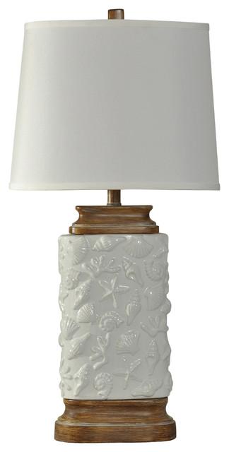 Sandy Cove Ceramic Table Lamp, White Finish, White Hardback Fabric Shade.