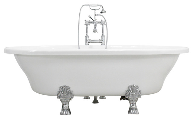 Francesca 73 Extra Wide Acrylic White Double Ended Clawfoot Tub Package