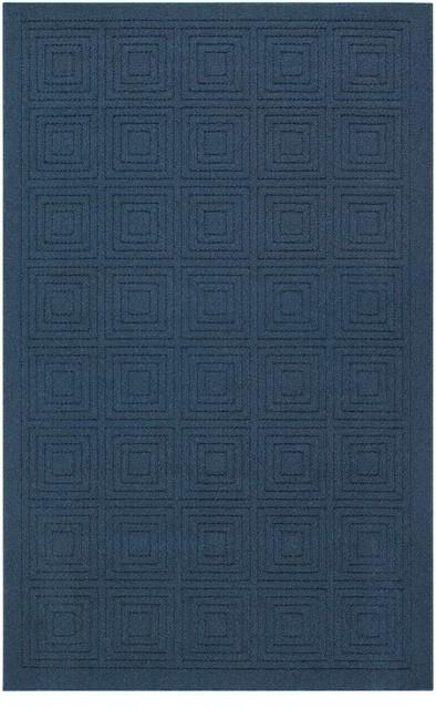 Mohawk Hampton Transom Navy Blue Solid Hi/Low Pile Carved 2u00276x4u00272