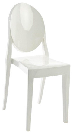 Victoria Ghost Chair, Set Of 2, Matte Glossy White