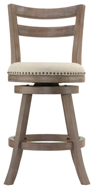 Cortesi Home Harper Counter Stool Beige Fabric Swivel Seat
