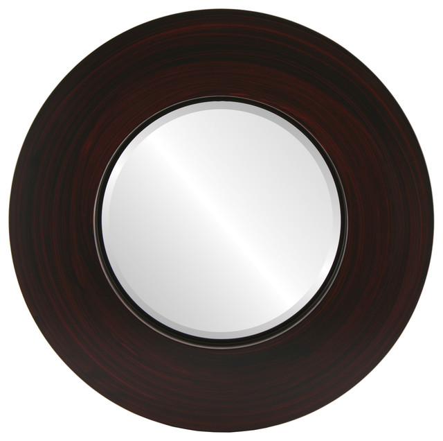 Moda framed round mirror in black cherry transitional for Round black wall mirror