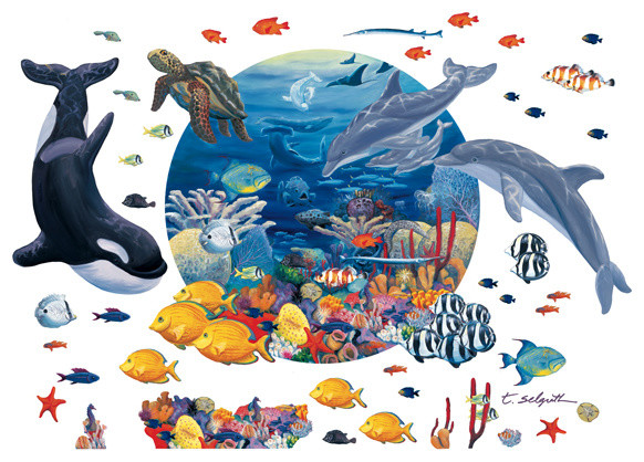 Ocean Life Peel And Stick Mural With 40 Extra Creatures Tropical Wall Decals Part 93