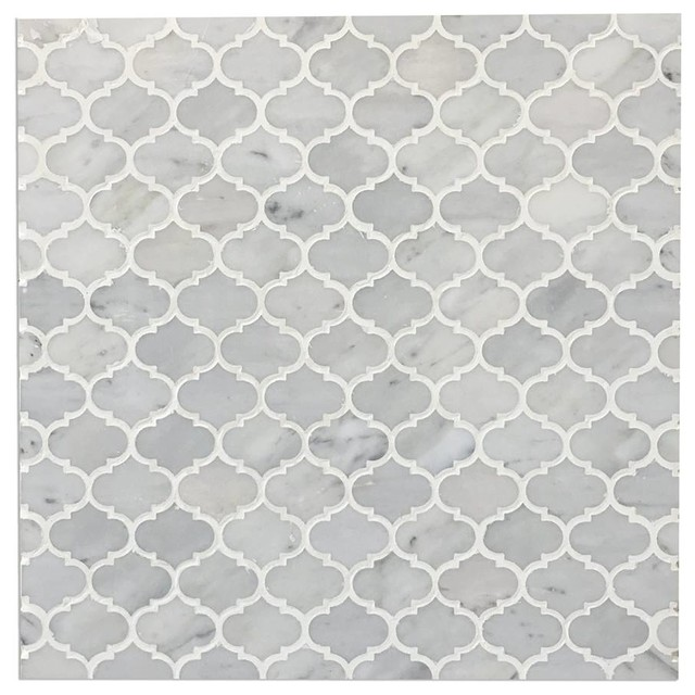 "12""x12"" Mini Arabesque Carrara White Polished Waterjet Mosaic, Set of 10"