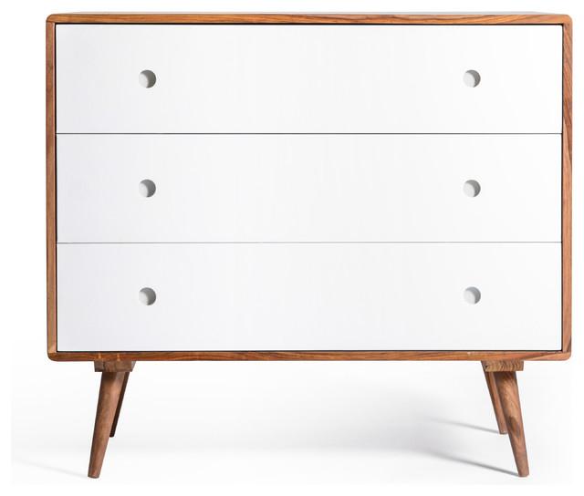 Ingrid Mid Century Modern Dresser With 3 Drawers White Midcentury