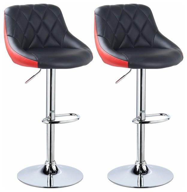 Set of 2 Bar Stools Upholstered, Faux Leather, Adjustable Height, Black