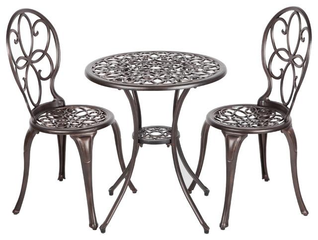 Arria Antique Bronze Cast Aluminum 3 Piece Bistro Set Mediterranean Outdoor Pub And Sets By Tuff Hut