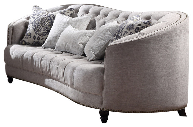 Acme Saira Stationary Down Feather Sofa, Light Gray Fabric.