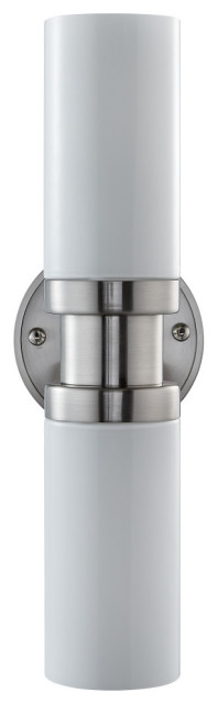 Buckley Sconce, Brushed Nickel With Glossy Frosted Glass