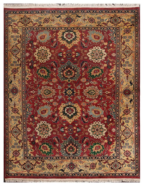 Rugsville Sultanabad Burgundy Gold Wool Rug 10828 8x10 Traditional