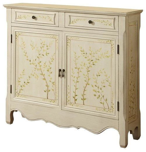 Powell White Hand Painted Wood 2-Door Console