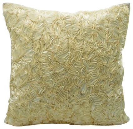 "Ivory Textured 14""x14"" Silk Pillows Cover, Thats Satin Ribbon"