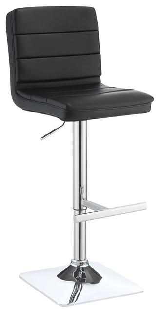 Astonishing Adjustable Upholstered Barstool Set Of 2 Black Chrome Machost Co Dining Chair Design Ideas Machostcouk