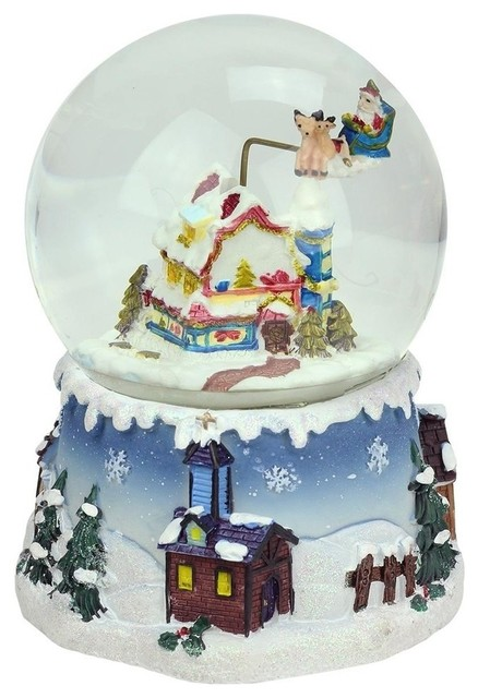 "5.5"" Santa Claus And Snowy Village Musical Christmas Dome."