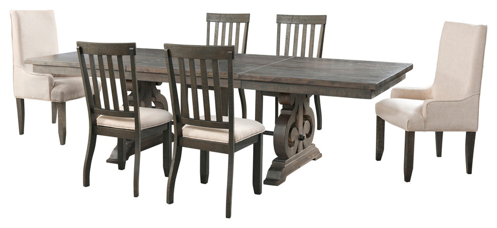Stanford Dining Table With 4 Side, Skirted Parsons Chairs Dining Room Furniture
