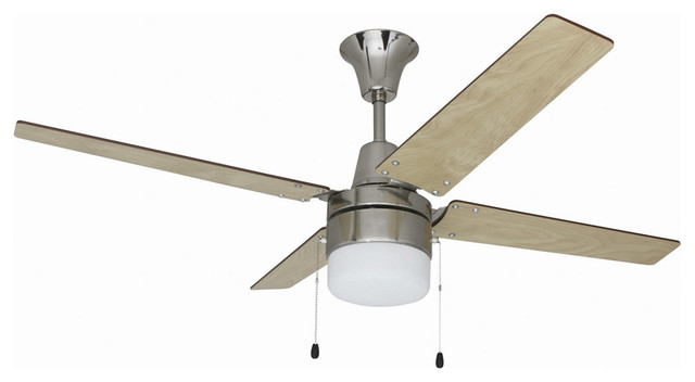 Wakefield 1-Light Indoor Ceiling Fans In Brushed Chrome.