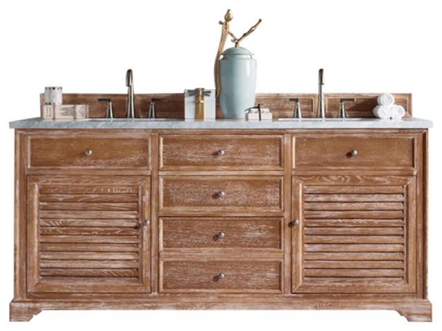 James Martin 238 104 5711 4CAR Savannah 72 Double Bathroom Vanity In Driftwood