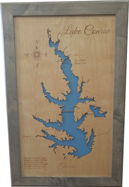 Lake Conroe, Texas-Wood Lake Map, Large Framed on topo map of lake wateree, topo map of lake murray, topo map of lake lanier, topo map of lake chatuge, topo map of smith mountain lake, topo map of dale hollow lake, topo map of lake of the ozarks,