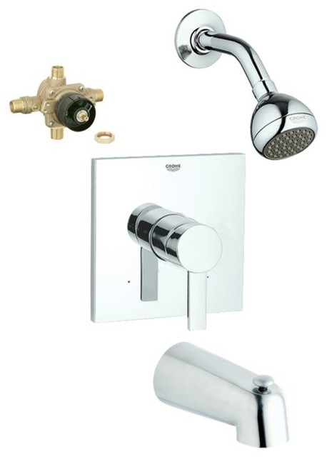 Allure Tub And Shower Valve Kit Chrome Contemporary Tub And Shower Fauce