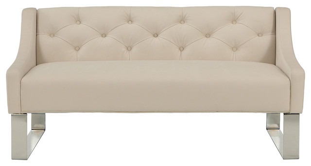Kiefer Tufted Accent Bench, Ivory. -2