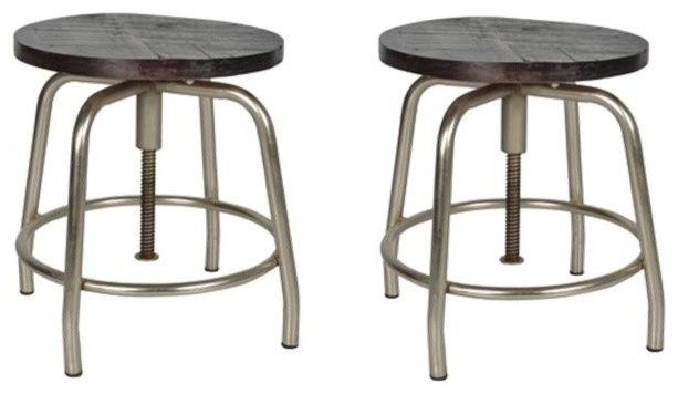 Awe Inspiring Set Of 2 Deon Wood And Metal Bar Stool With Nickel Antique Gmtry Best Dining Table And Chair Ideas Images Gmtryco