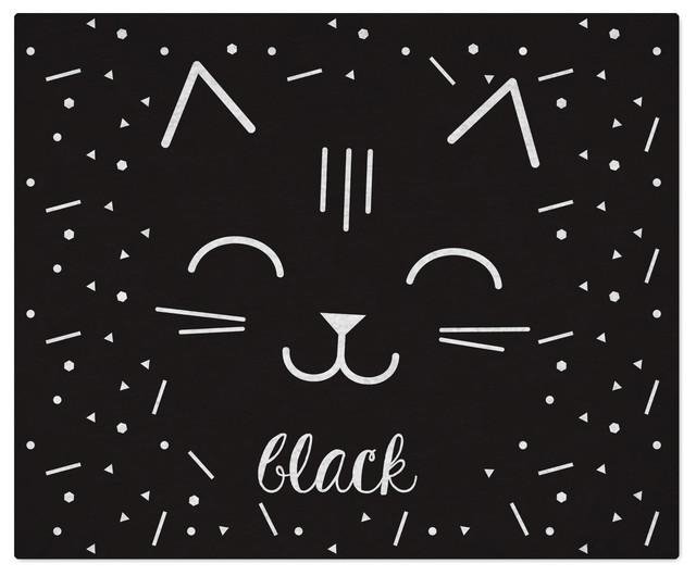 Black Cat Floor Rug, 90x110 cm