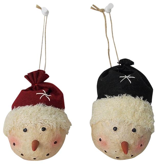Set of 2 5'H Papier Mache snowman ornaments