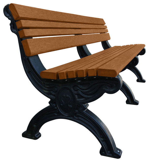 Bench Hartford W Back 6 With Decorative Black Legs Traditional Outdoor Benches By American Recycled Plastic
