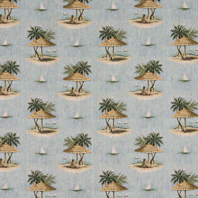 Sailboats Palm Trees Shade Umbrella Theme Tapestry Upholstery Fabric