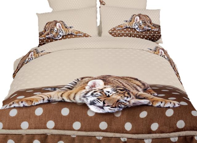 Sleepy Tiger 100 Cotton 6 Piece Animal Print Bedding Duvet Cover Sheets Set