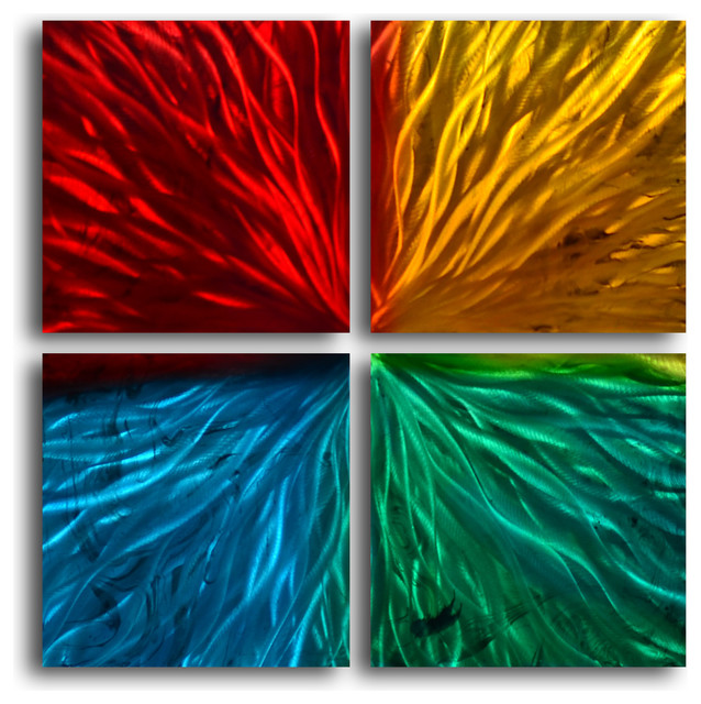 Square Metal Wall Art metal wall art decor abstract contemporary modern - four square