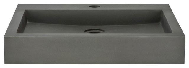 Vasque Import Rectangular Polished Concrete Vessel Sink