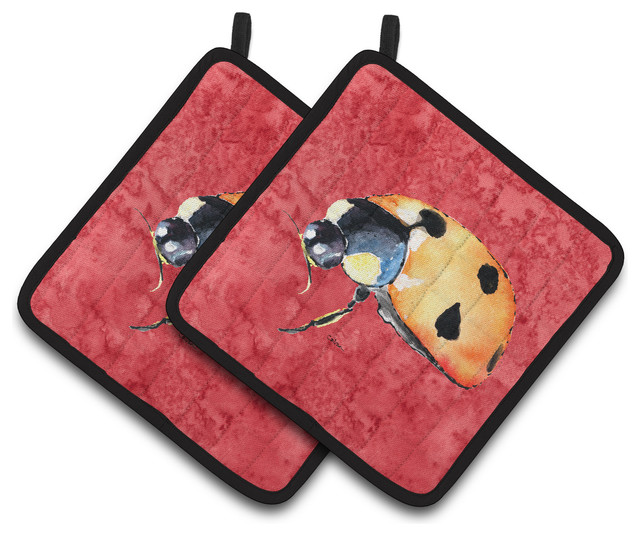 Red Pot Holders: Lady Bug On Red Pot Holders, Set Of 2