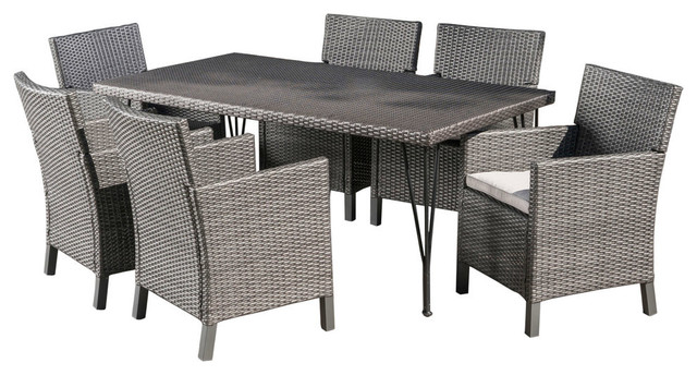7 Piece Darmel Outdoor Wicker Dining Set With Water Resistant Cushions