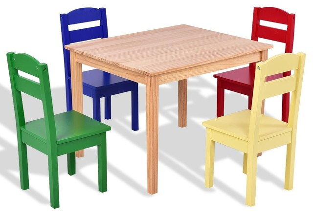 Modern Style 5-Piece Kids Pine Wood Table Chair Set, Multicolor