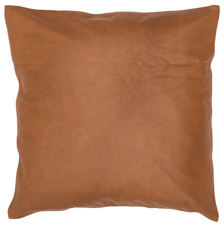 Square Solid Leather Cushion, Tan